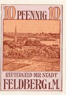Billet Allemand - 10 Pfennig - Feldberg In Mecklenburg 1922 - Vue D'ensemble De Ortschaft, Landschaftsidylle - [11] Emissions Locales