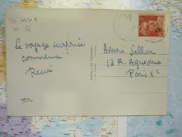 6 F Gandon Rouge Seul Sur CP Grenoble 1949 - Marcophilie (Lettres)