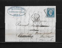 1861 FRANKREICH → Lyon à Charolles, Napoleon III. 20c Bleu   ►après Le Départ◄ - 1853-1860 Napoléon III