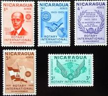 1955  Nicaragua 5 Valeurs. Rotary International, 50th Anniversary.  Neufs Traces Charnières - Nicaragua