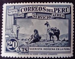 Pérou Peru 1936 Villageois Villager Animal Lama Yvert PA18 * MH - Peru