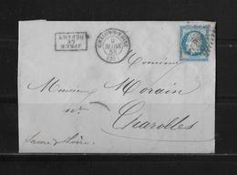 1858 FRANKREICH → Chalon-sur-Saône à Charolles, Petits Chiffres 702 Napoleon III. 20c Bleu   ►après Le Départ◄ - 1853-1860 Napoléon III