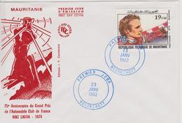 FDC MAURITANIE : NIKI LAUDA 75 ème ANNIVERSAIRE DU GRAND PRIX DE FRANCE 1974 - Automovilismo