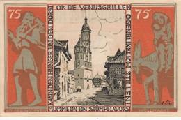 Billet Allemand - 75 Pfennig - Braunschweig 1921 - Vue De Wollmarkt, Stadtwappen - [11] Emissions Locales