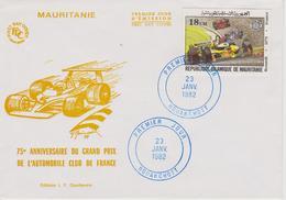 FDC MAURITANIE : RENAULT F1 J.P JABOUILLE 75ème Anniversaire Du Grand Prix De FRANCE - Automovilismo