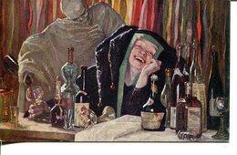 """006094  Alkohol. Frau Mit Narrenkappe Die Trinkt Und Tod Der Einschenkt. Signiert """"Hedwig Wallner"""" - Künstlerkarten"""