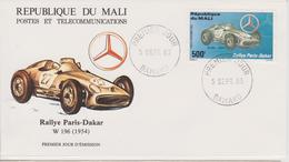 FDC MALI : RALLYE PARIS DAKAR MERCEDES W 196 De 1954 - Automovilismo