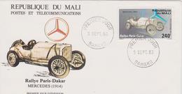 FDC MALI : RALLYE PARIS DAKAR MERCEDES De 1914 - Automovilismo