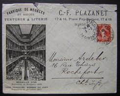 Bordeaux 1912 C. F Plazanet Fabrique De Meubles Et Sièges Tentures & Literie, Enveloppe Illustrée - Marcophilie (Lettres)
