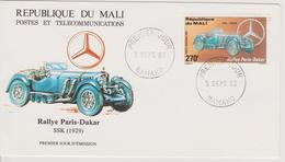FDC MALI : RALLYE PARIS DAKAR MERCEDES SSK De 1929 - Automovilismo