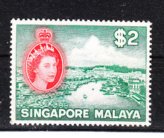 Singapore -1955. Fiume Di Singapore. River. Rare MNH High Value Of The Serie - Geographie