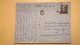 1946 INTERO CARTOLINA POSTALE POSTCARDS ANNULLO NAPOLI PER PALERMO LIRE 1,20 - 4. 1944-45 Repubblica Sociale