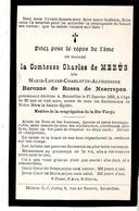 Faire-part De Décès Mme La Comtesse Charles De MEEÛS Née Baronne De Rosen De Neerrepen Le 27/1/1892. - Décès