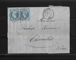 1866 FRANKREICH → Lyon à Charolles, Gros Chiffres 3156 Deux Fois Napoleon III. 20c Bleu  ►RAR◄ - 1862 Napoléon III