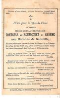 Faire-part De Décès Mme Marie COMTESSE De HEMRICOURT De GRUNNE Née Baronne De Senzeille 1893 - Décès