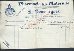 FACTURE ILLUSTRÉE + PUB E DEMOURGUES PHARMACIE DE LA MATERNITÉ À PARIS Bld DE PORT ROYAL 1904 : - France
