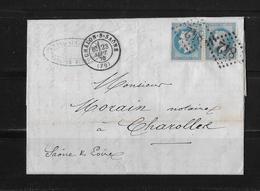 1870 FRANKREICH → Chalon-sur-Saône à Charolles, Gros Chiffres 842 Deux Fois Napoleon III. 20c Bleu  ►RAR◄ - 1863-1870 Napoléon III Lauré