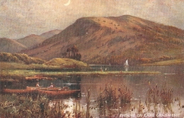 """A. De Breanski. Evening On Lke Grasmere Tick Oilette Picturesque Eglish Lakes Ser. PC # 7895 - Tuck, Raphael"