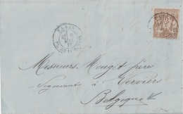 PARIS - PL.DE LA BOURSE - 9 MAI 1877 - SAGE 30c N°69 N/B - LETTRE POUR LA BELGIQUE. - Marcophilie (Lettres)