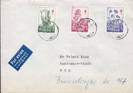Finland PAR AVION Ilmaposti LUFTPOST Label LAHTI 1958 Cover KARL-MARX-STADT DDR Tuberculosis Tuberkulose Complete Set - Finnland