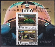 1980, Korea-Nord, 2068/69 Block 87, 100 Jahre Elektrische Eisenbahn, Lokomotiven,  Railway, Oo - Korea (Nord-)