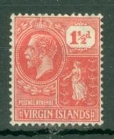 British Virgin Is: 1922/28   KGV   SG90    1½d   Carmine-red     MH - British Virgin Islands