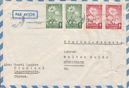 Finland Par Avion LAPPEENRANTA 1950 Cover Brief RÜEDISBACH Belgium 2x Pair Paare Tuberculosis Tuberkulose - Finnland
