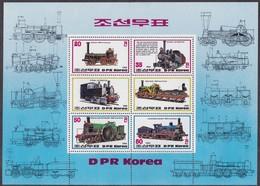 1983, Korea-Nord, 2375/78 Block 147, Lokomotiven,  Railway, MNH ** - Korea (Nord-)