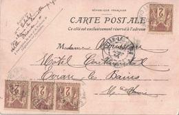 CHARENTE INFERIEURE - LA TREMBLADE - SAGE 2c X 5 - SUR CARTE POSTALE LE COIN DU CHENAL LA TREMBLADE. - Marcophilie (Lettres)