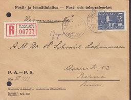 Finland Registered Recommandé Label HELSINKI Helsingfors 1935 Cover Lettre BERN Switzerland 5 Mark Burg Olavinlinna - Finlande