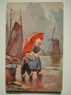 CP Hollande Sabots Parapluie Moulin Bateau. - Illustrateurs & Photographes