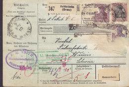 Germany Deutsches Reich Paketkarte Bulletin D'Expedition Freight Card HEIDENHEIM (Brenz) 1918 WIMIMIS Switzerland - Deutschland