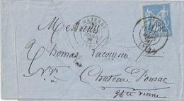 MAYENNE - MAYENNE - 20 MARS 1877 - ENTETE - ET VIGNETTE COMMERCIALE A-FERON-MARIE - FABRIQUE DE TISSUS MAYENNE. - Marcophilie (Lettres)
