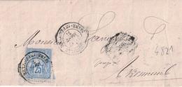 SEINE INFERIEURE - BACQUEVILLE - ENTETE HUISSIER L.PESQUET - 17 MARS 1877 - VERSO CACHET BLEU LUNEREY T16. - Marcophilie (Lettres)