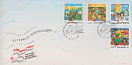 Singapore 1990 25th Anniversary Of Independence FDC - Singapore (1959-...)