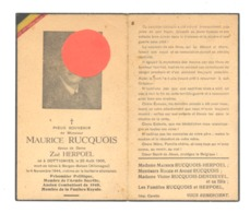 Guerre 40/45 - Faire-part De Décès Maurice RUCQUOIS, Armée Secrète, Fanfare,..DOTTIGNIES 1906/ Bergen-Belsen 1944 (b247) - Décès