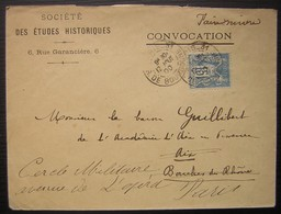 Société Des études Historiques (paris) 1900 Convocation Pour Le Baron Guillibert  à L'académie D'Aix Et Cercle Militaire - Marcophilie (Lettres)