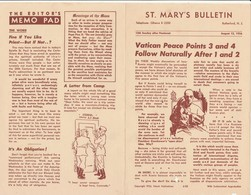 Bollettino Ufficiale Chiesa ST. MARY'S BULLETIN New Jersey 12 Luglio 1956 - Libri, Riviste, Fumetti