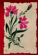 CP Ancienne Ciselée Peinte à La Main Souhaits Sincères - Fleur - écrite à Chillolay ?? 26-12-1915 Signé Belliard - Nouvel An
