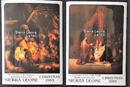 SIERRA LEONE, Peinture, Painting, Rembrandt 2 Blocs Dentelés  Emis En 1989 ** MNH, - Rembrandt