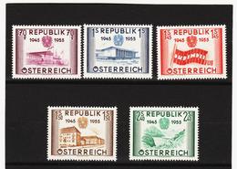 AUA1292 ÖSTERREICH 1955 10% KATALOG Michl 1012/16 KATALOG 60,00 € ** Postfrisch SIEHE ABBILDUNG - 1945-60 Ungebraucht