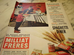 ANCIENNE PUBLICITE SPAGHETTI DINER  PATE MILLIAT FRERES 1960 - Affiches