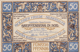Billet De 50 Pfennig - Greiffenberg. - [ 3] 1918-1933 : République De Weimar