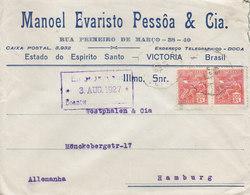 Brazil MANOEL EVARISTO PESSÔA & Cia, VICTORIA 1927 Cover Letra HAMBURG Germany - Brasil
