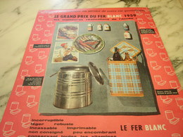 ANCIENNE PUBLICITE GRAND PRIX DU FER BLANC 1959 - Publicité
