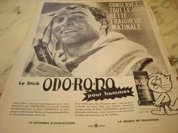 ANCIENNE PUBLICITE STICK ODORONO   1960 - Perfume & Beauty