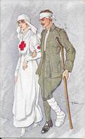 GUERRE 14/18 - Infirmière Croix Rouge Et Blessé - Illustration De GOLIA - Guerra 1914-18