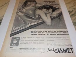 ANCIENNE PUBLICITE COUCHAGE BON SOMMEIL BONNE VACANCE ANDRE JAMET 1960 - Publicité