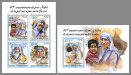 CENTRAL AFRICA 2019 MNH Mother Teresa Nobel Peace Prize 1979 M/S+S/S - IMPERFORATED - DH1906 - Mother Teresa