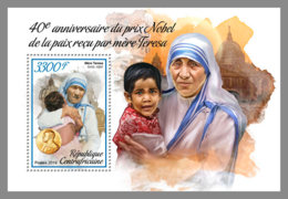 CENTRAL AFRICA 2019 MNH Mother Teresa Nobel Peace Prize 1979 S/S - IMPERFORATED - DH1906 - Mother Teresa